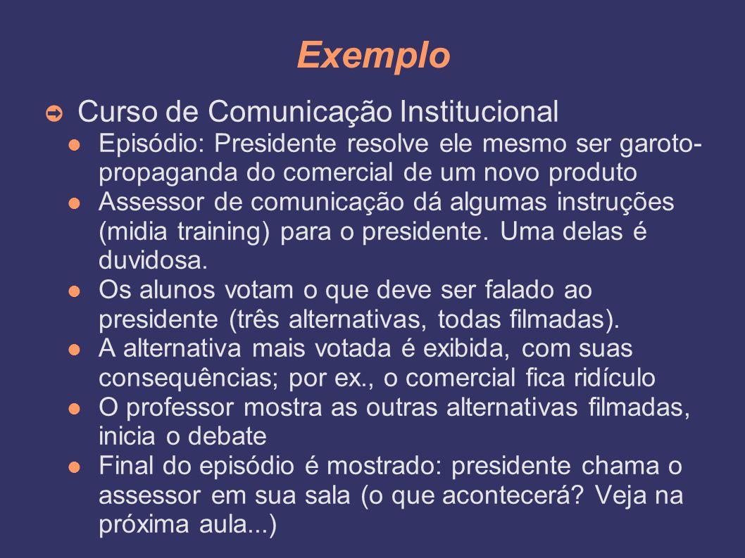 Exemplo ➲ Curso de Comunicação Institucional Episódio: Presidente resolve ele mesmo ser garoto- propaganda do comercial de um novo produto Assessor de