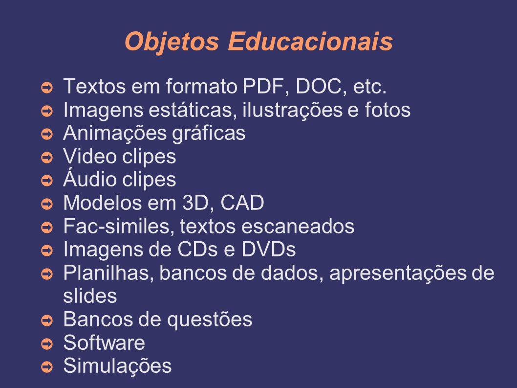 Objetos Educacionais ➲ Textos em formato PDF, DOC, etc. ➲ Imagens estáticas, ilustrações e fotos ➲ Animações gráficas ➲ Video clipes ➲ Áudio clipes ➲