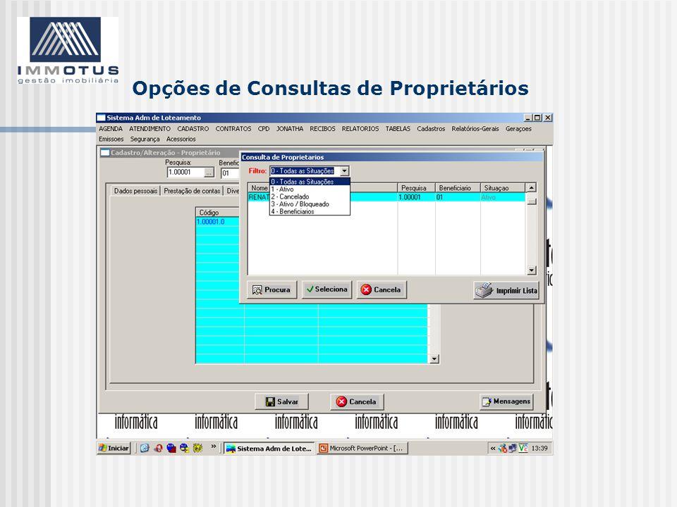 Opções de Consultas de Proprietários