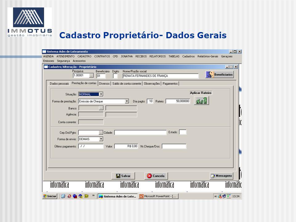 Cadastro Proprietário- Dados Gerais