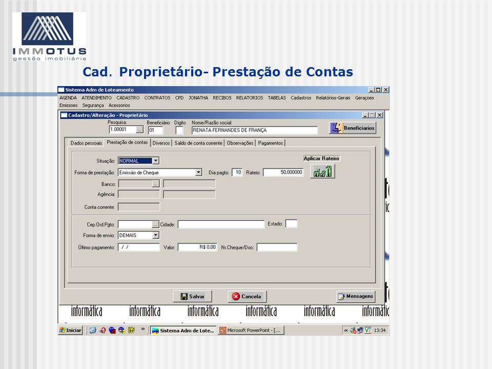 Cad. Proprietário- Prestação de Contas