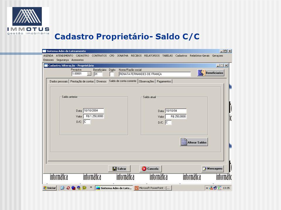 Cadastro Proprietário- Saldo C/C