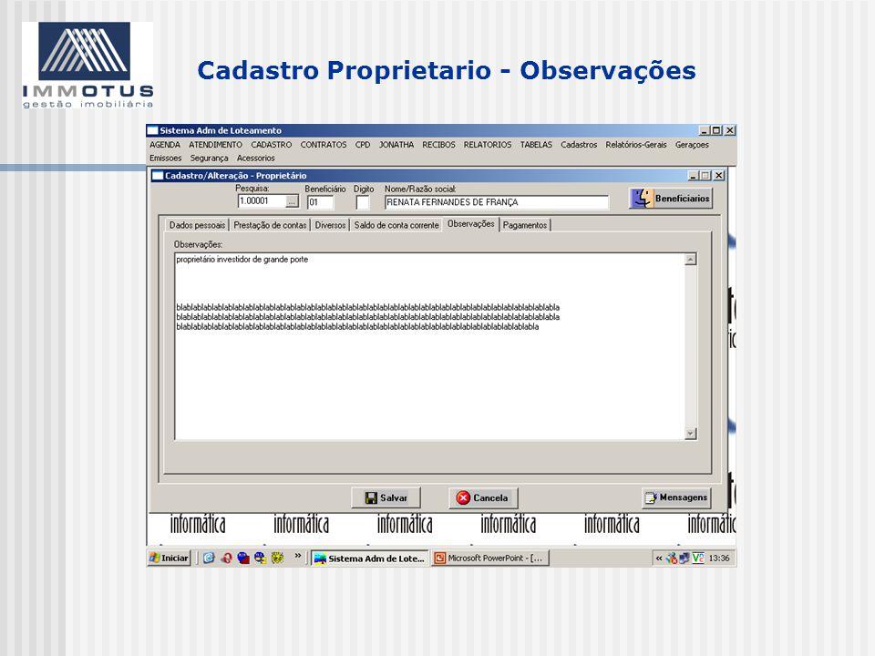 Cadastro Proprietario - Observações
