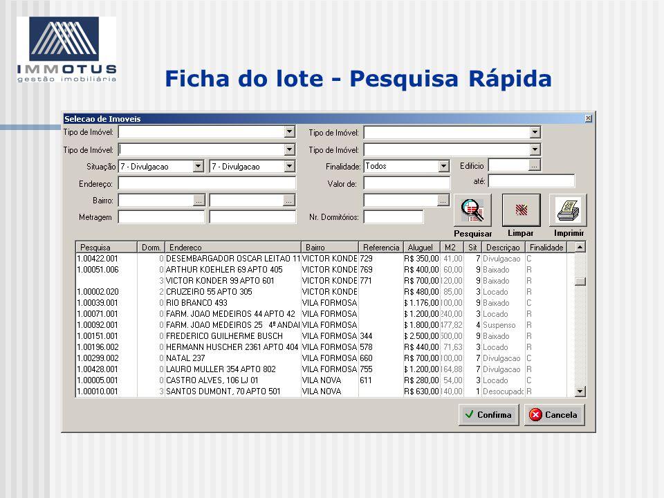 Ficha do lote - Pesquisa Rápida