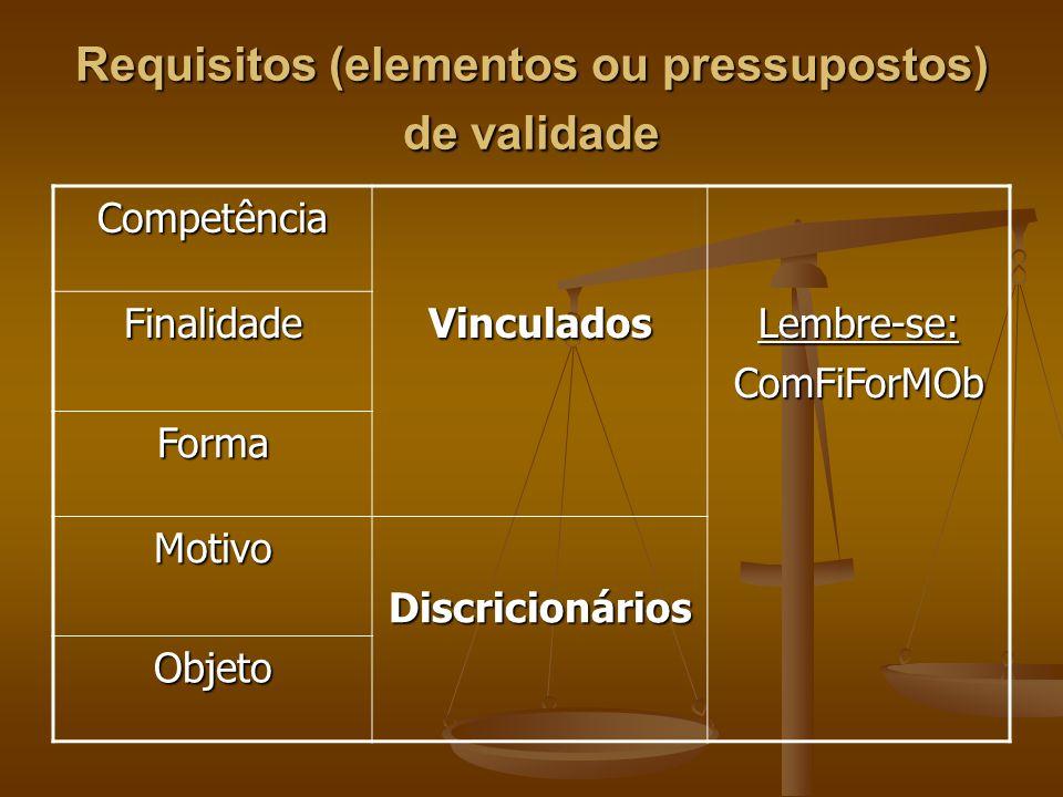 Requisitos (elementos ou pressupostos) de validade Competência FinalidadeVinculadosLembre-se:ComFiForMOb Forma MotivoDiscricionários Objeto