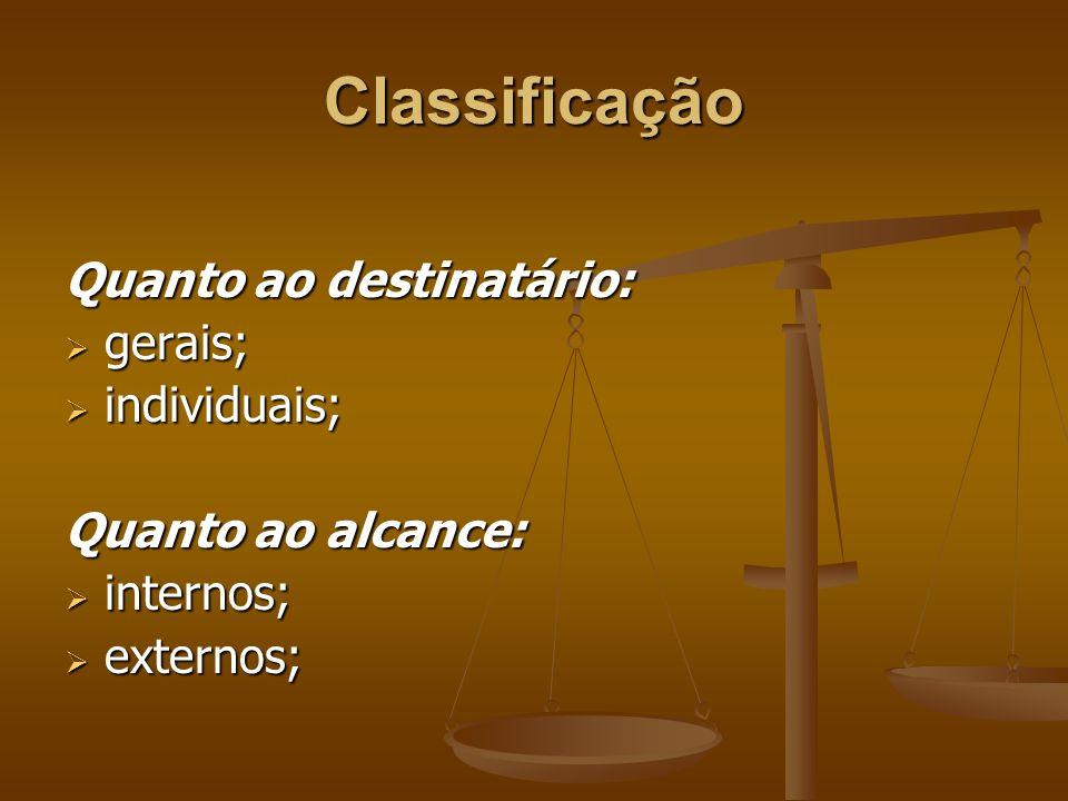 Classificação Quanto ao destinatário:  gerais;  individuais; Quanto ao alcance:  internos;  externos;