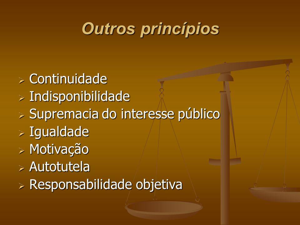 Outros princípios  Continuidade  Indisponibilidade  Supremacia do interesse público  Igualdade  Motivação  Autotutela  Responsabilidade objetiv