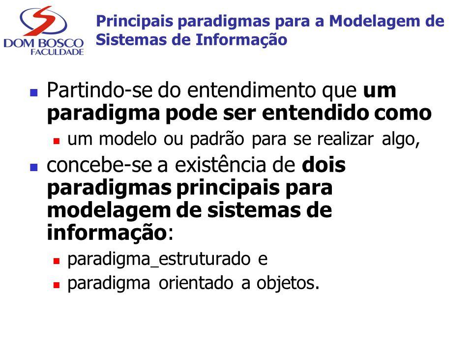 Principais paradigmas para a Modelagem de Sistemas de Informação Partindo-se do entendimento que um paradigma pode ser entendido como um modelo ou pad