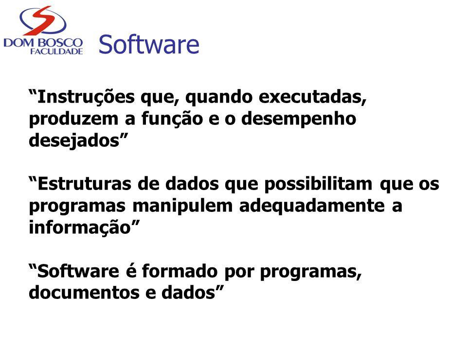 Características do Software Software é desenvolvido; não é manufaturado como hardware Software não se desgasta com o uso, porém se deteriora A maioria é construída para o cliente, em vez de ser projetada a partir de componentes => necessidade de reutilização Software é uma oportunidade de negócios