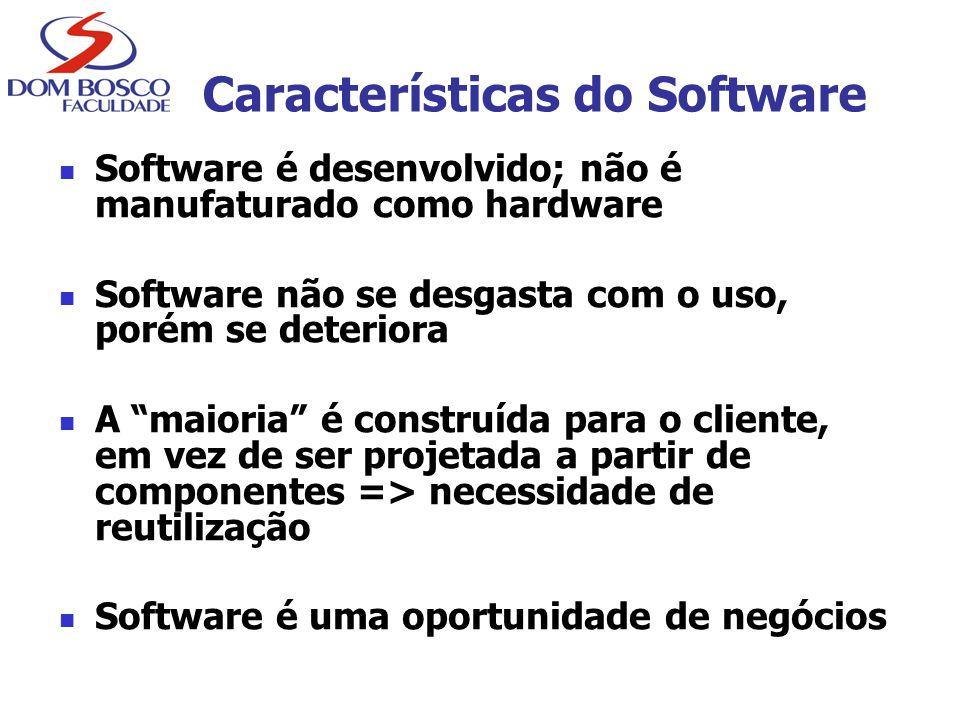 """Características do Software Software é desenvolvido; não é manufaturado como hardware Software não se desgasta com o uso, porém se deteriora A """"maiori"""