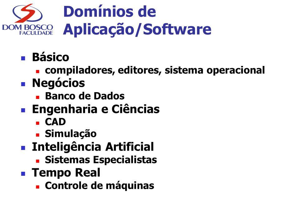 Domínios de Aplicação/Software Básico compiladores, editores, sistema operacional Negócios Banco de Dados Engenharia e Ciências CAD Simulação Inteligê