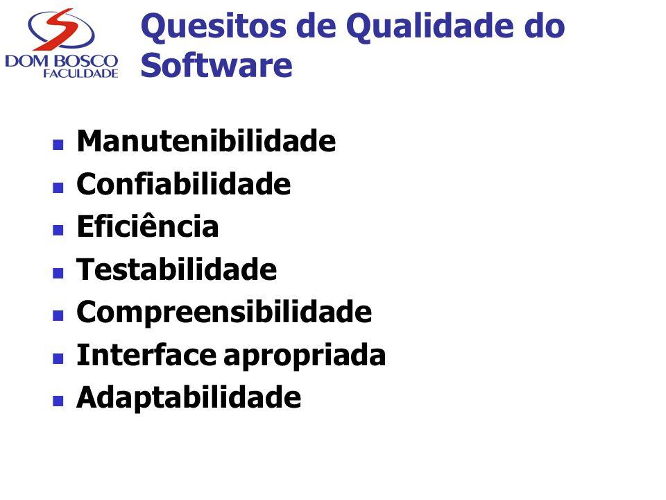 Quesitos de Qualidade do Software Manutenibilidade Confiabilidade Eficiência Testabilidade Compreensibilidade Interface apropriada Adaptabilidade