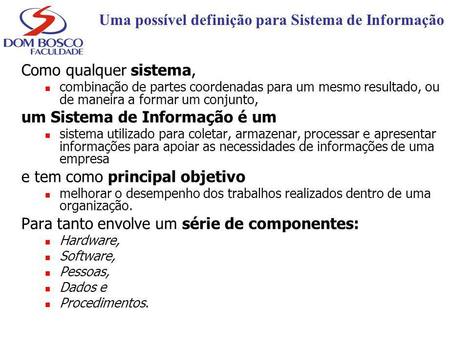 Uma possível definição para Sistema de Informação Como qualquer sistema, combinação de partes coordenadas para um mesmo resultado, ou de maneira a for