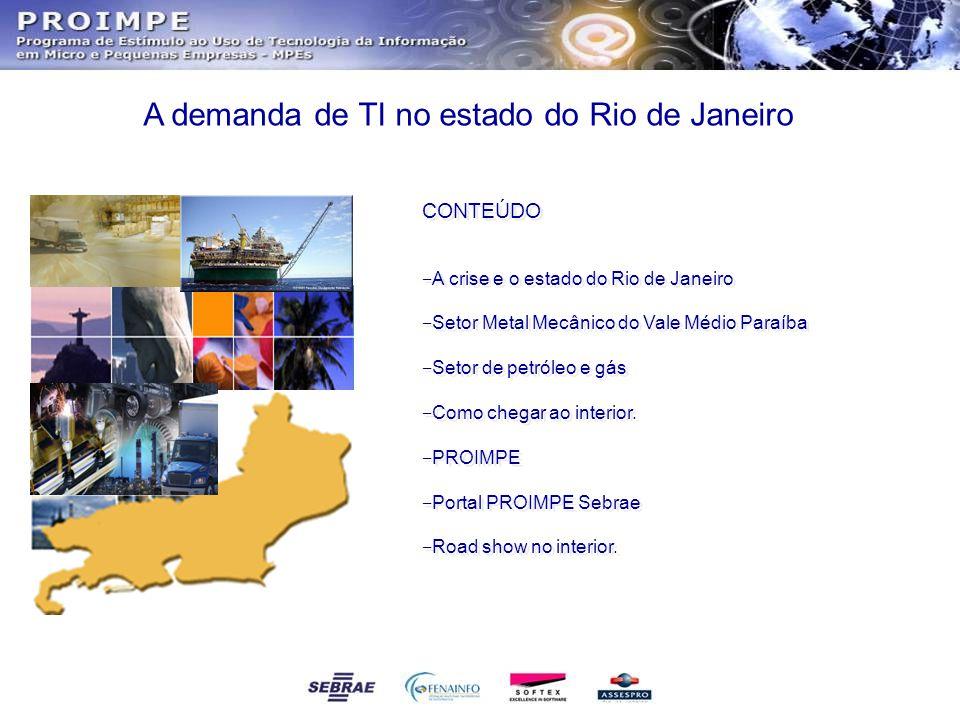 CONTEÚDO ‒ A crise e o estado do Rio de Janeiro ‒ Setor Metal Mecânico do Vale Médio Paraíba ‒ Setor de petróleo e gás ‒ Como chegar ao interior. ‒ PR