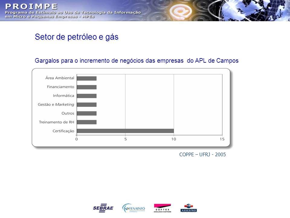 Setor de petróleo e gás Gargalos para o incremento de negócios das empresas do APL de Campos COPPE – UFRJ - 2005
