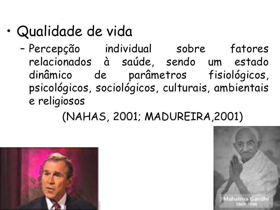 Qualidade de vida –Percepção individual sobre fatores relacionados à saúde, sendo um estado dinâmico de parâmetros fisiológicos, psicológicos, sociológicos, culturais, ambientais e religiosos (NAHAS, 2001; MADUREIRA,2001)