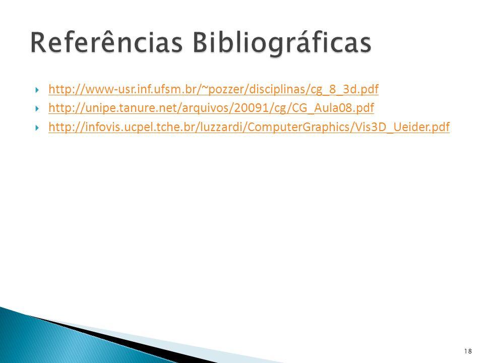  http://www-usr.inf.ufsm.br/~pozzer/disciplinas/cg_8_3d.pdf http://www-usr.inf.ufsm.br/~pozzer/disciplinas/cg_8_3d.pdf  http://unipe.tanure.net/arqu