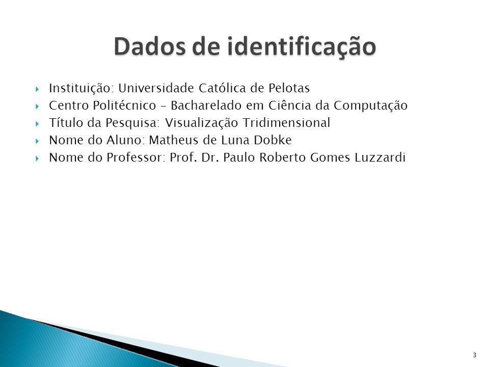  Instituição: Universidade Católica de Pelotas  Centro Politécnico – Bacharelado em Ciência da Computação  Título da Pesquisa: Visualização Tridime