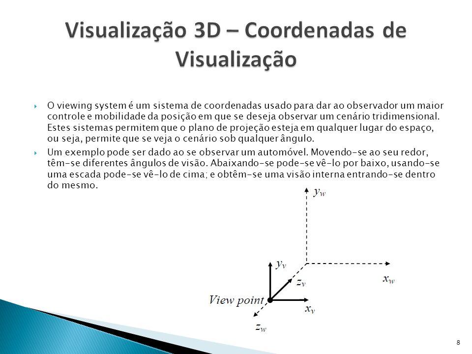  Para fazer a visualização de objetos 3D em um dispositivo 2D (o monitor, por exemplo), deve-se fazer a transformação do espaço 3D para o 2D, ou seja, converter as coordenadas que correspondam a uma visão do objeto de uma posição específica.