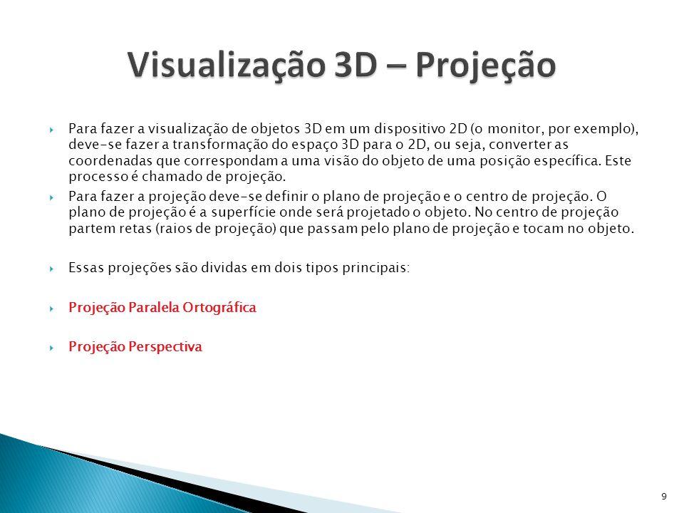  Para fazer a visualização de objetos 3D em um dispositivo 2D (o monitor, por exemplo), deve-se fazer a transformação do espaço 3D para o 2D, ou seja