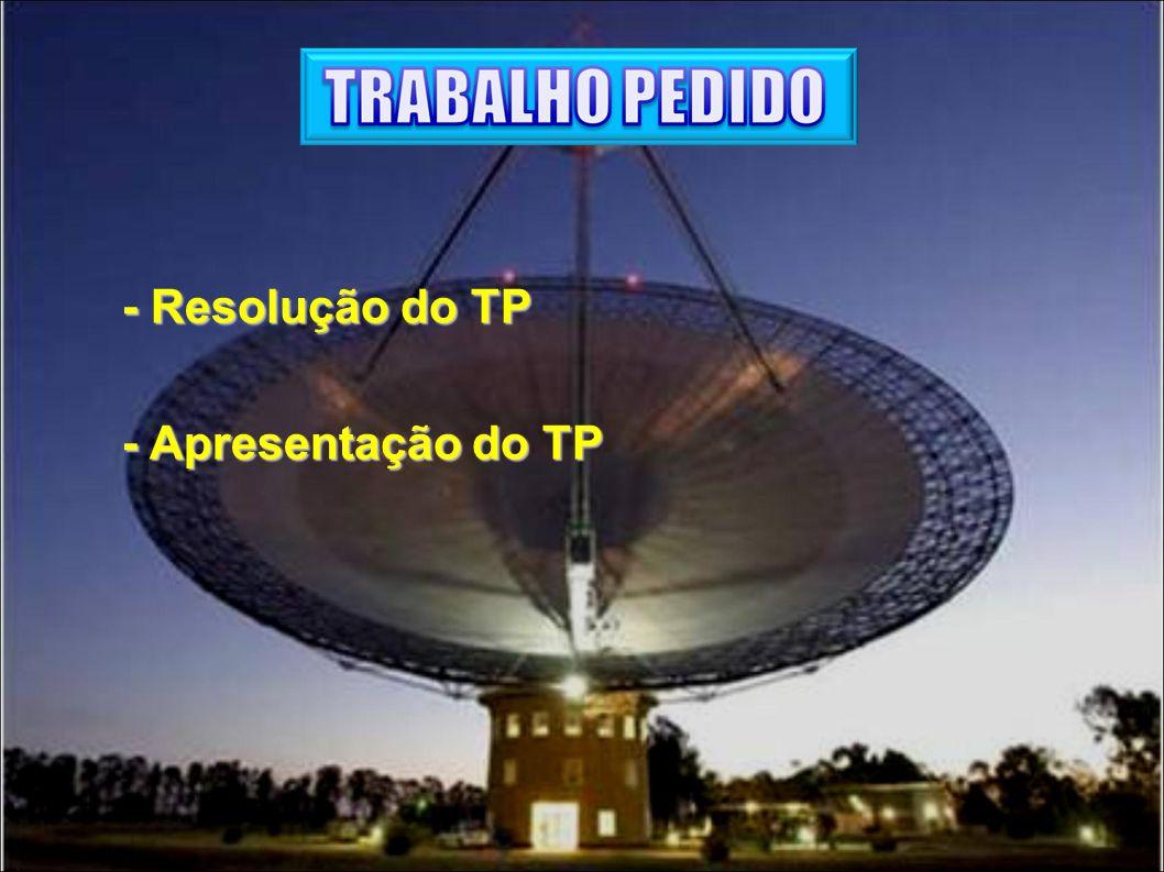 - Resolução do TP - Apresentação do TP - Apresentação do TP