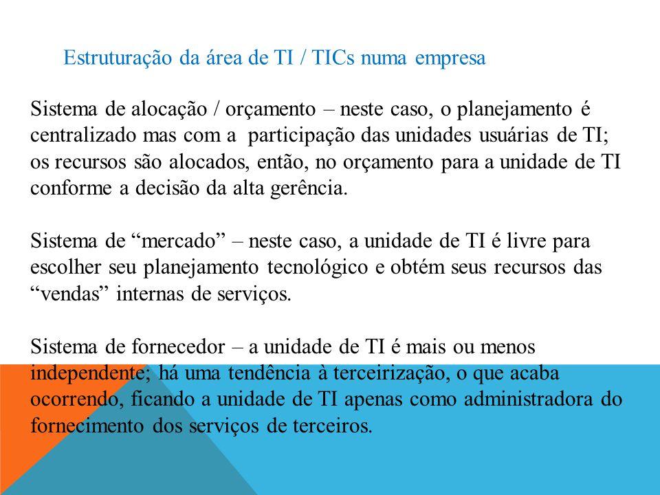 Estruturação da área de TI / TICs numa empresa Sistema de alocação / orçamento – neste caso, o planejamento é centralizado mas com a participação das