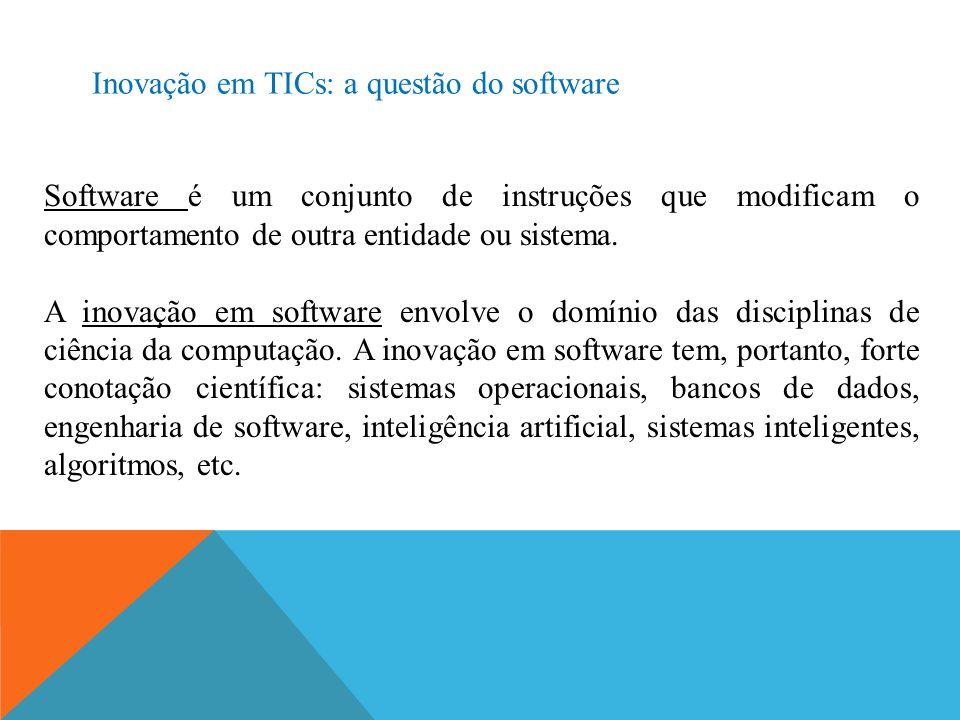 Inovação em TICs: a questão do software Software é um conjunto de instruções que modificam o comportamento de outra entidade ou sistema. A inovação em