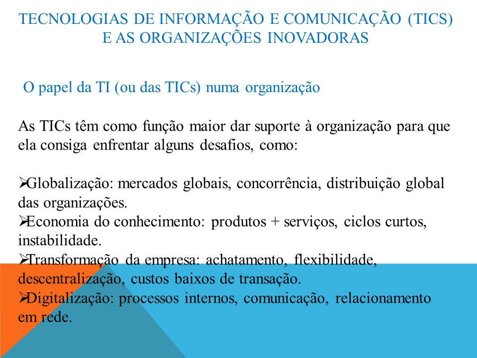 TECNOLOGIAS DE INFORMAÇÃO E COMUNICAÇÃO (TICS) E AS ORGANIZAÇÕES INOVADORAS O papel da TI (ou das TICs) numa organização As TICs têm como função maior
