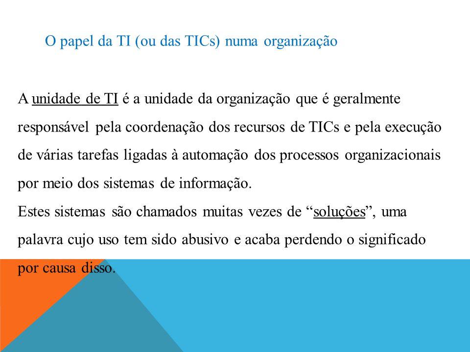 O papel da TI (ou das TICs) numa organização A unidade de TI é a unidade da organização que é geralmente responsável pela coordenação dos recursos de