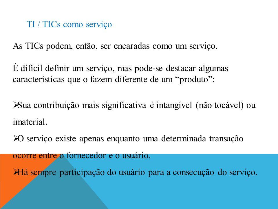 TI / TICs como serviço As TICs podem, então, ser encaradas como um serviço. É difícil definir um serviço, mas pode-se destacar algumas características