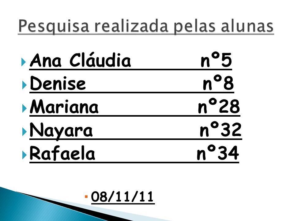  Ana Cláudia nº5  Denise nº8  Mariana nº28  Nayara nº32  Rafaela nº34  08/11/11