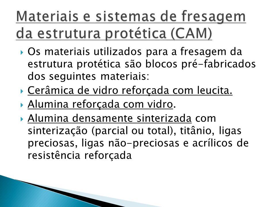  Os materiais utilizados para a fresagem da estrutura protética são blocos pré-fabricados dos seguintes materiais:  Cerâmica de vidro reforçada com