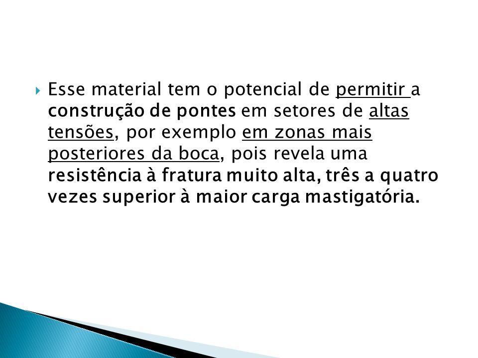  Esse material tem o potencial de permitir a construção de pontes em setores de altas tensões, por exemplo em zonas mais posteriores da boca, pois re