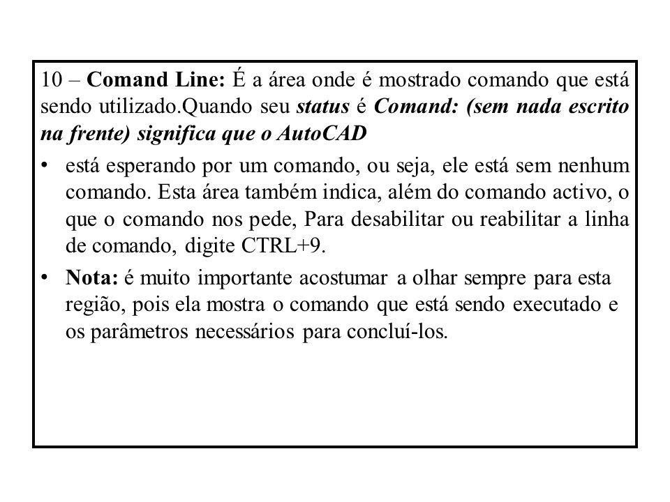 10 – Comand Line: É a área onde é mostrado comando que está sendo utilizado.Quando seu status é Comand: (sem nada escrito na frente) significa que o A
