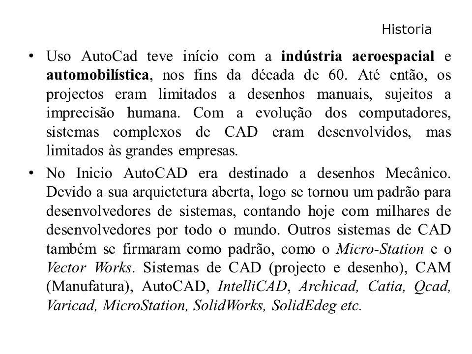 Historia Uso AutoCad teve início com a indústria aeroespacial e automobilística, nos fins da década de 60. Até então, os projectos eram limitados a de
