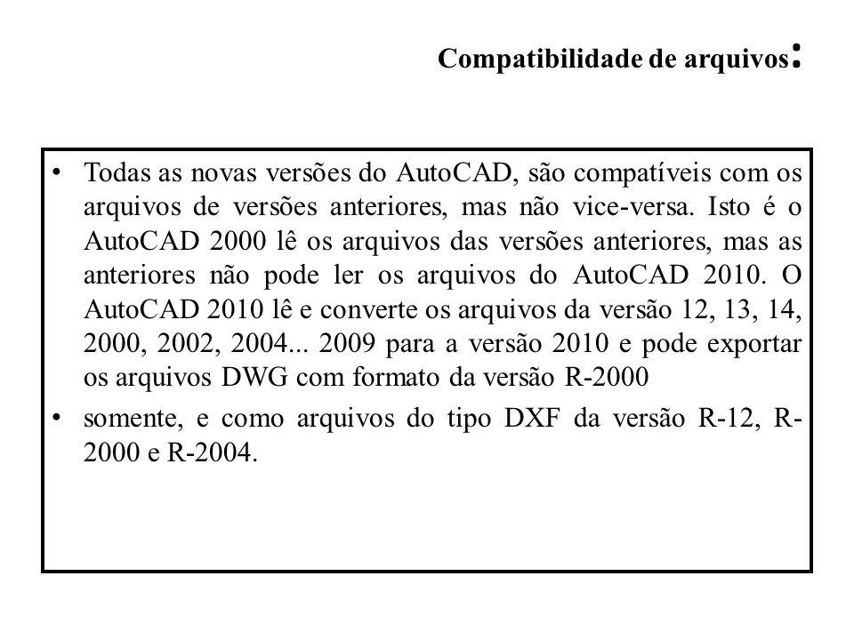 Todas as novas versões do AutoCAD, são compatíveis com os arquivos de versões anteriores, mas não vice-versa. Isto é o AutoCAD 2000 lê os arquivos das