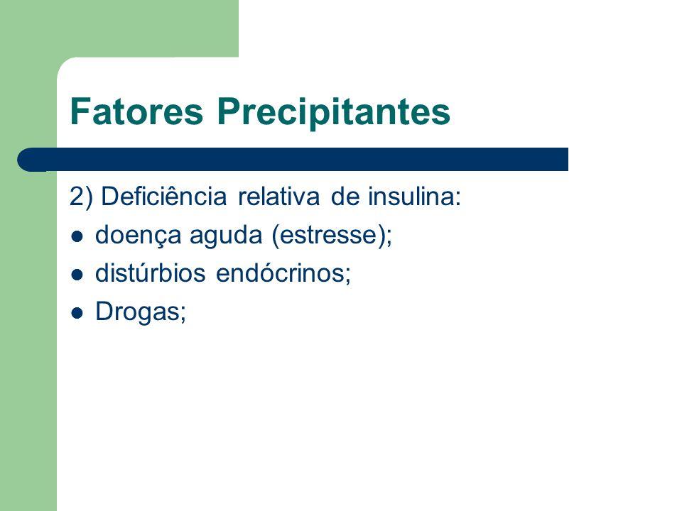 Fatores Precipitantes 2) Deficiência relativa de insulina: doença aguda (estresse); distúrbios endócrinos; Drogas;