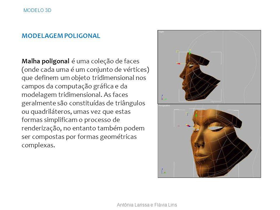 MODELAGEM POLIGONAL Malha poligonal é uma coleção de faces (onde cada uma é um conjunto de vértices) que definem um objeto tridimensional nos campos da computação gráfica e da modelagem tridimensional.
