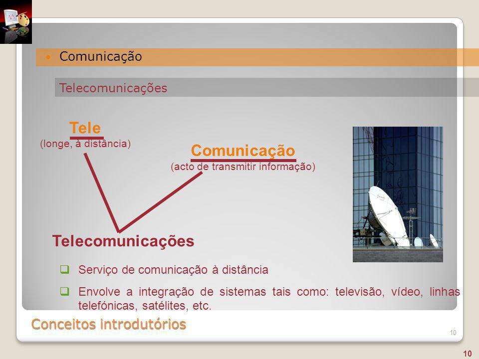 Conceitos introdutórios Comunicação 10  Serviço de comunicação à distância  Envolve a integração de sistemas tais como: televisão, vídeo, linhas tel