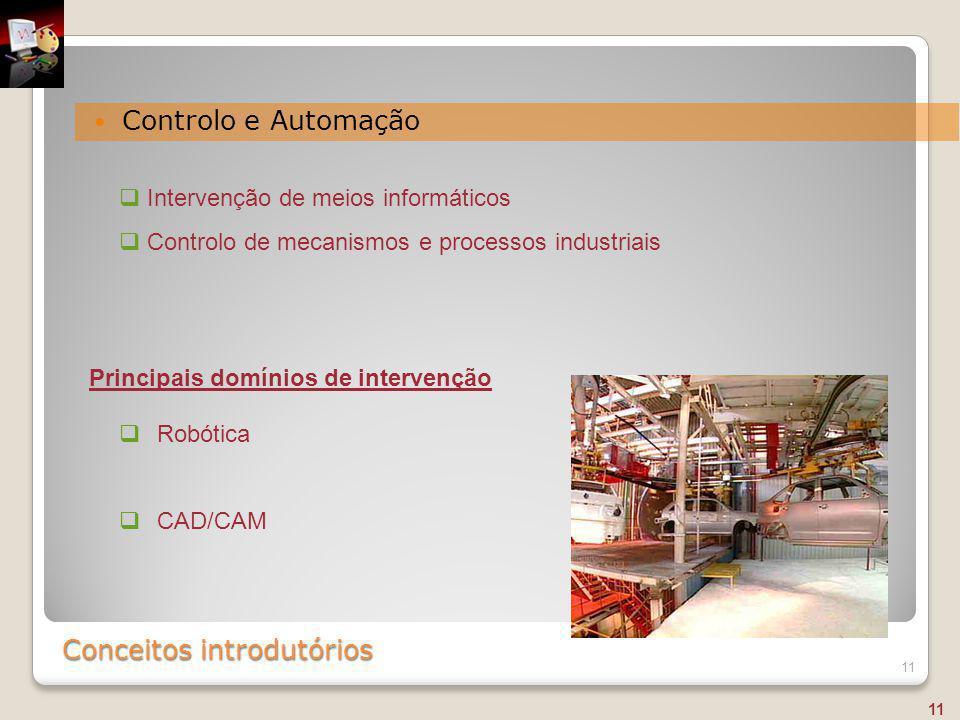 Conceitos introdutórios Controlo e Automação 11  Intervenção de meios informáticos  Controlo de mecanismos e processos industriais  Robótica  CAD/