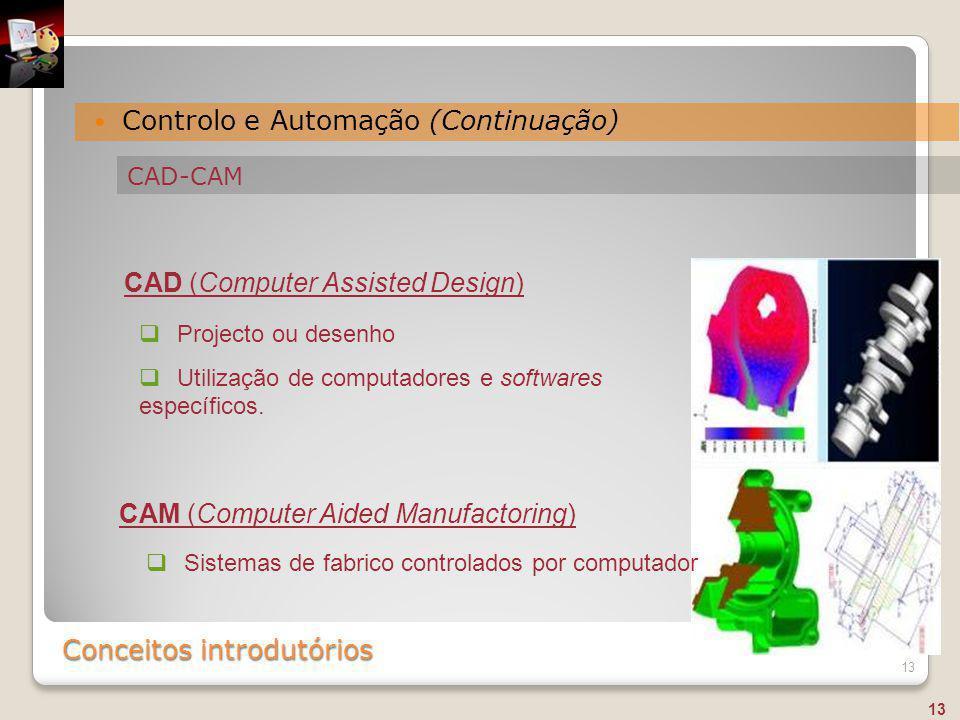 Conceitos introdutórios Controlo e Automação (Continuação) 13  Sistemas de fabrico controlados por computador  Projecto ou desenho  Utilização de c