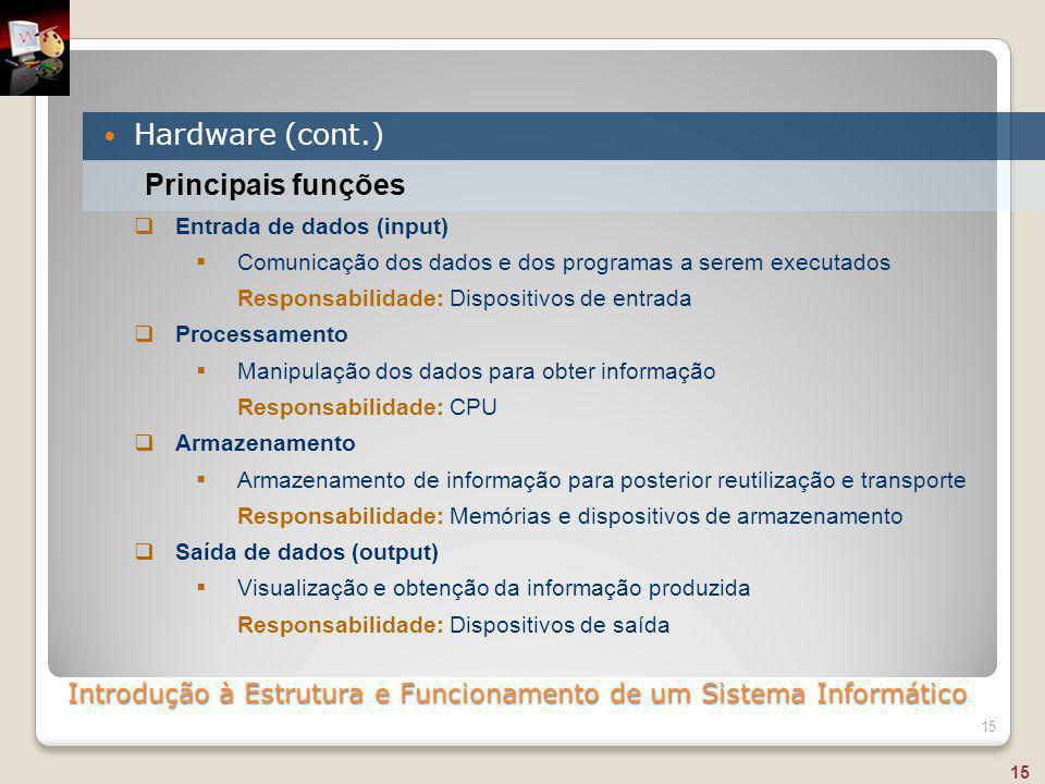 Introdução à Estrutura e Funcionamento de um Sistema Informático Hardware (cont.) 15 Principais funções  Entrada de dados (input)  Comunicação dos d