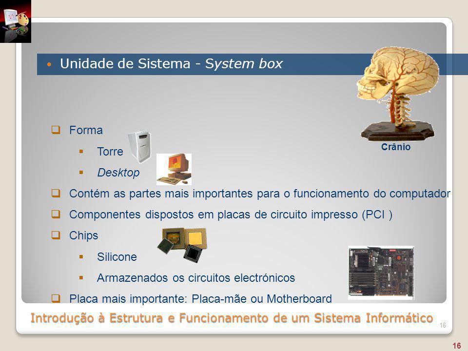Introdução à Estrutura e Funcionamento de um Sistema Informático Unidade de Sistema - System box 16  Forma  Torre  Desktop  Contém as partes mais
