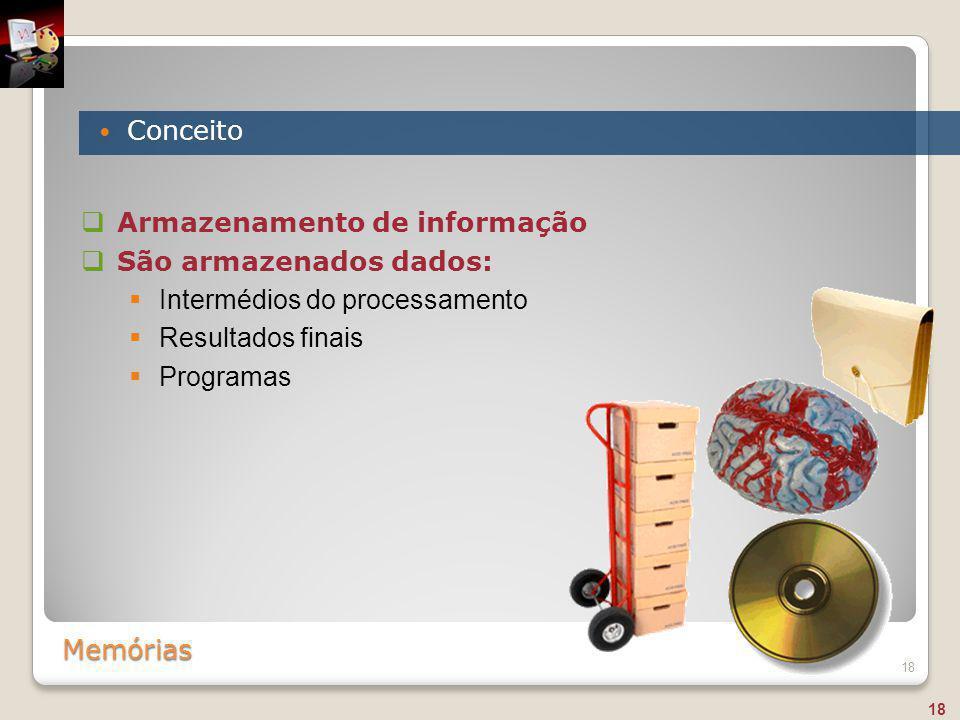 Memórias Conceito 18  Armazenamento de informação  São armazenados dados:  Intermédios do processamento  Resultados finais  Programas 18