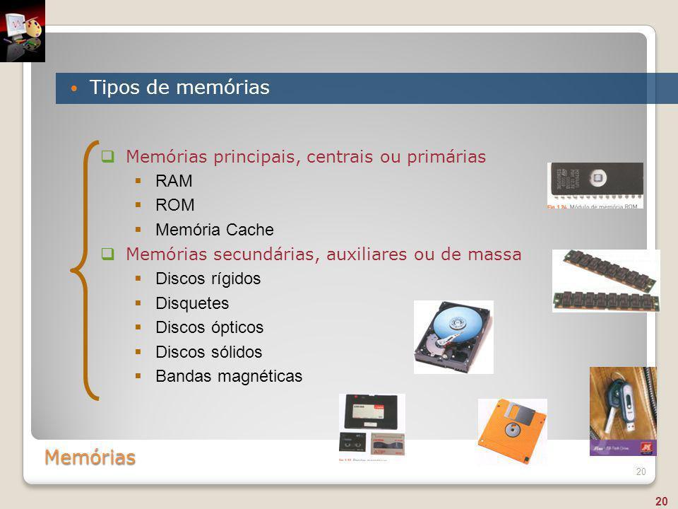 Memórias Tipos de memórias 20  Memórias principais, centrais ou primárias  RAM  ROM  Memória Cache  Memórias secundárias, auxiliares ou de massa