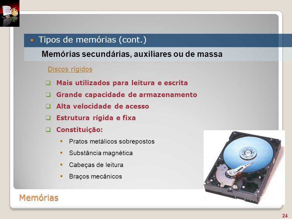 Memórias Tipos de memórias (cont.) 24 Memórias secundárias, auxiliares ou de massa  Mais utilizados para leitura e escrita  Grande capacidade de arm