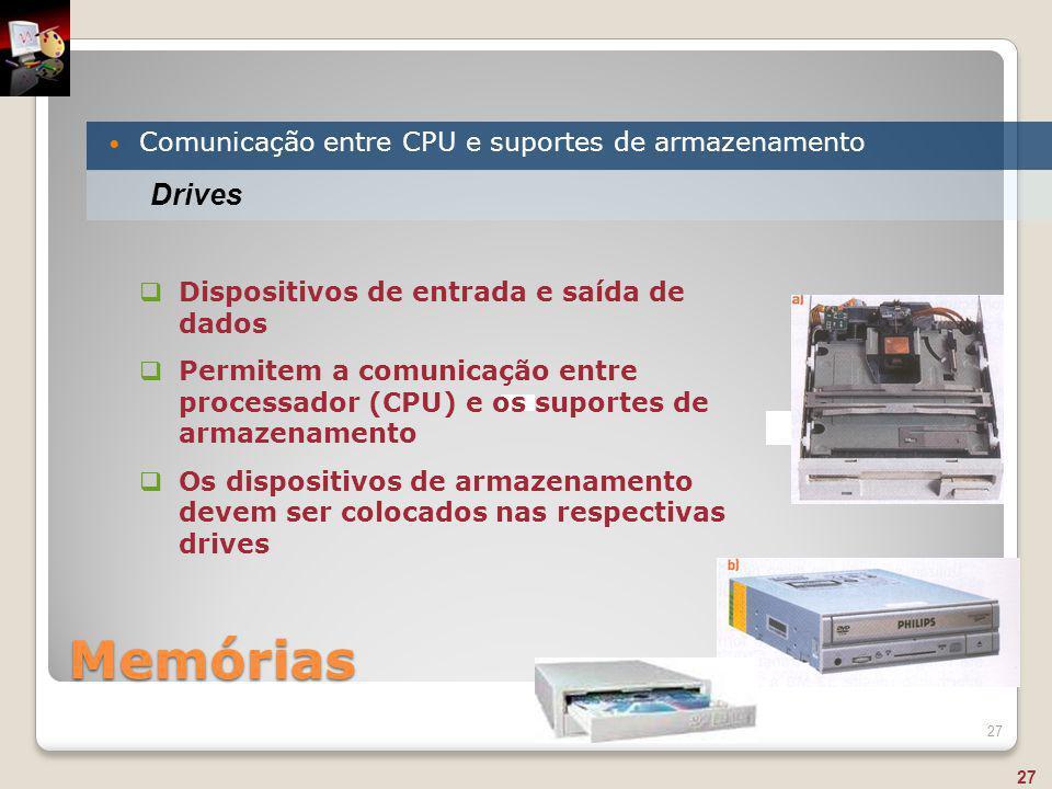 Memórias Comunicação entre CPU e suportes de armazenamento 27 Drives  Dispositivos de entrada e saída de dados  Permitem a comunicação entre process