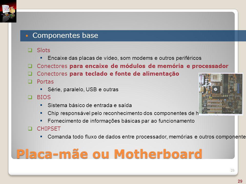 Placa-mãe ou Motherboard Componentes base 29  Slots  Encaixe das placas de vídeo, som modems e outros periféricos  Conectores para encaixe de módul