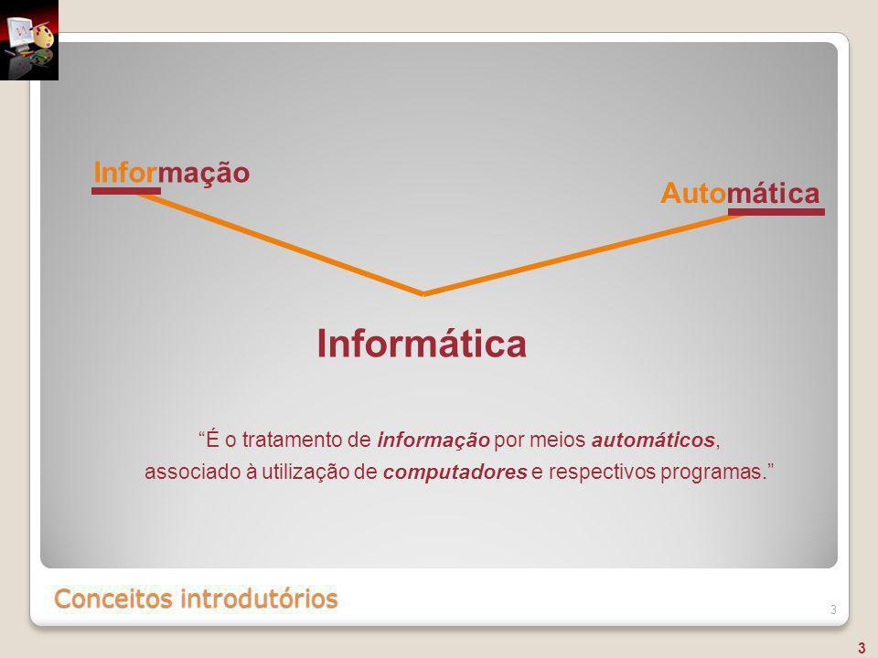 """Conceitos introdutórios 3 Informação Automática Informática """"É o tratamento de informação por meios automáticos, associado à utilização de computadore"""