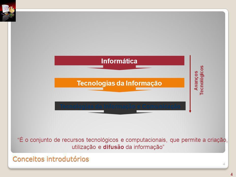 """Conceitos introdutórios 4 """"É o conjunto de recursos tecnológicos e computacionais, que permite a criação, utilização e difusão da informação"""" Informát"""